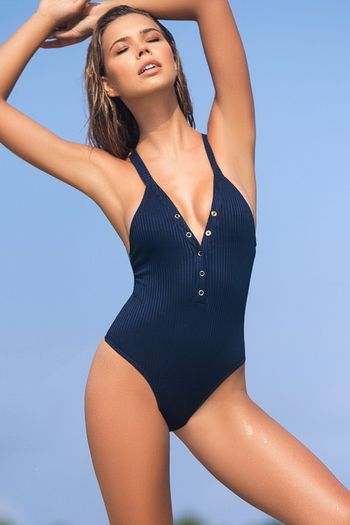 Navy Ribbed Monokini
