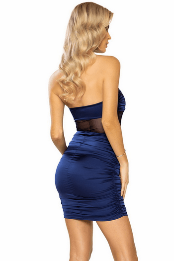 Navy Scrunched Satin & Mesh Tube Dress