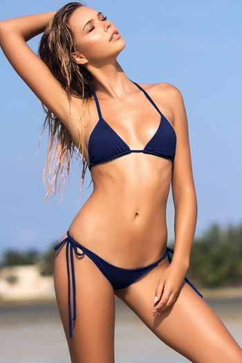 Navy Simply Stunning Bikini Top & Bottom Set
