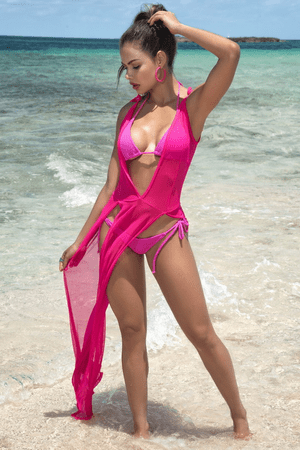 Neon Pink Cover Up Beach Dress