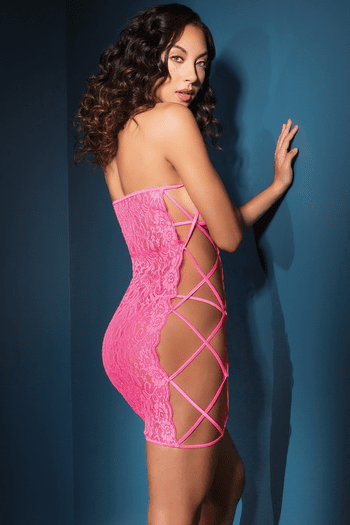 Neon Pink Scallop Stretch Lace Chemise