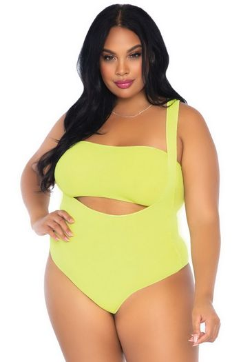 Plus Size Neon Yellow Bandeau & Suspender Teddy Set