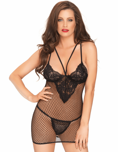 Not Over You Fishnet Chemise & Thong Set