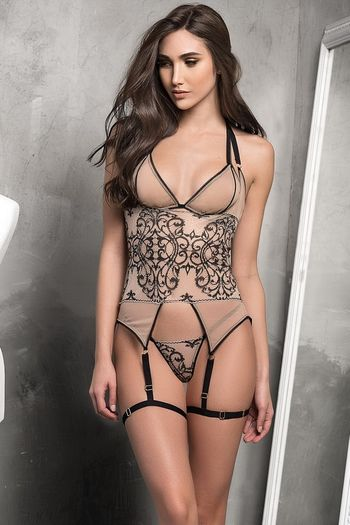 Nude Embroidered Gartered Bra Set