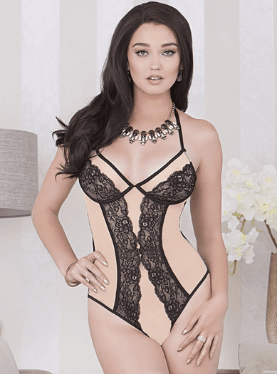 Nude Intentions  Lace Teddy