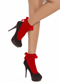 Nylon Anklet with Ruffle and Satin Bow