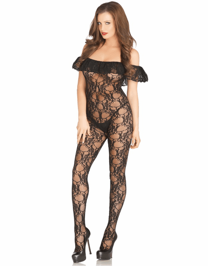 Off Shoulder Floral Lace Bodystocking