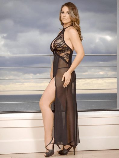 One Night Stand Lace Gown & G-String Set
