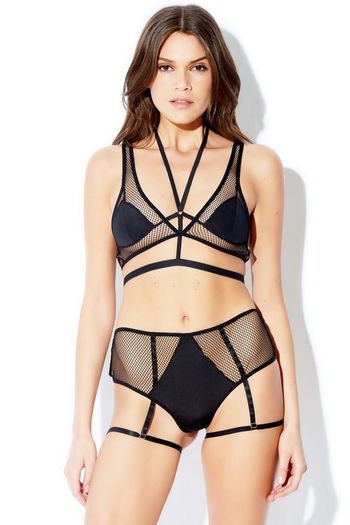 Onyx Fishnet Bra Set