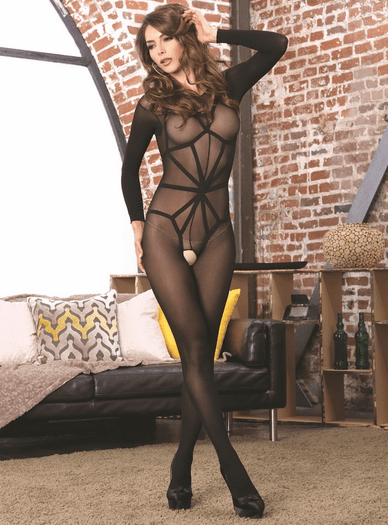 Opaque Sexy Crotchless Bodystocking & Harness Set