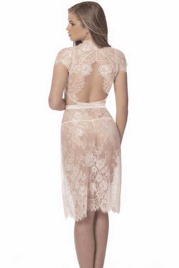 Open Back Lace Robe