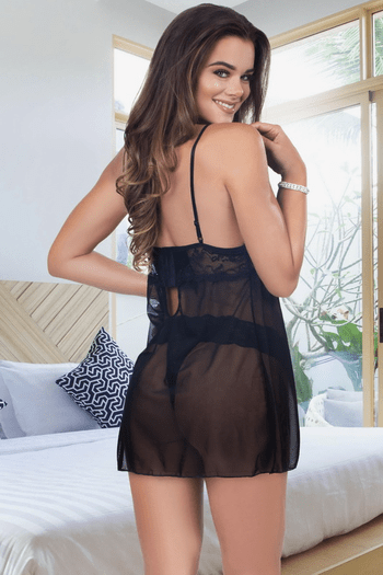 Open Cup Lace Babydoll Set
