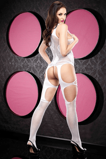 Open Front White Lace Bodystocking