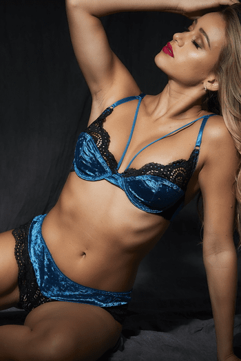 Peacock Velvet & Lace Bra Set