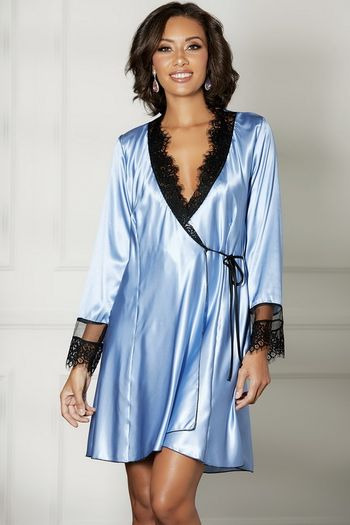 Periwinkle Charmeuse Mid Length Robe
