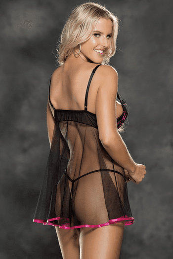 Pink & Black Stretch Lace Babydoll Set