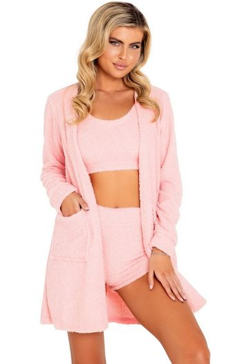 Pink Comfy Cozy Fuzzy Pocketed Robe
