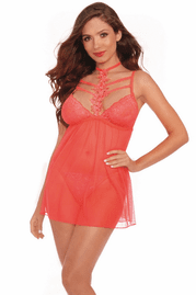 Pink Coral Cage Neck Babydoll