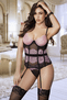 Pink Eyelash Lace Bustier & Thong Set