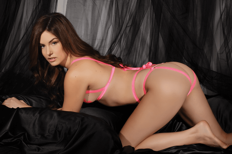 Pink Hot for you Cupless Bra & Panty Lingerie Set