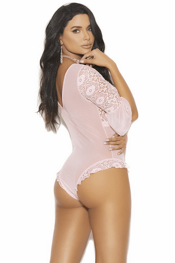 Pink Lace Bell Sleeve Teddy