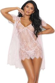 Pink Lace Robe & Chemise Set
