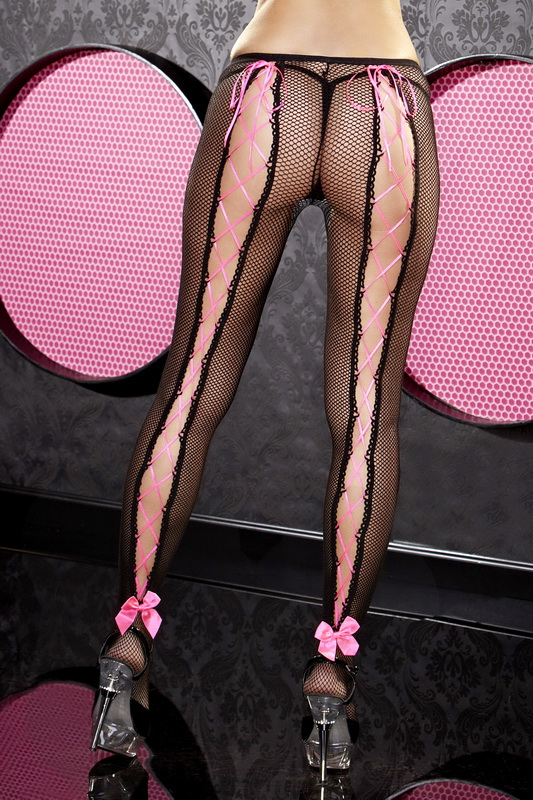 Pink Lace Up Fishnet Pantyhose Spicy Lingerie