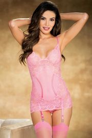 Pink Vintage Stretch Lace & Mesh Gartered Chemise