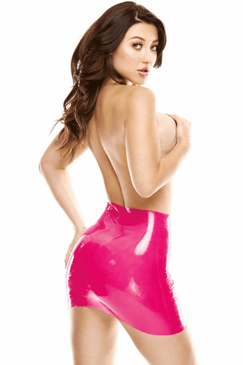 Pink Wet Look Mini Skirt &
