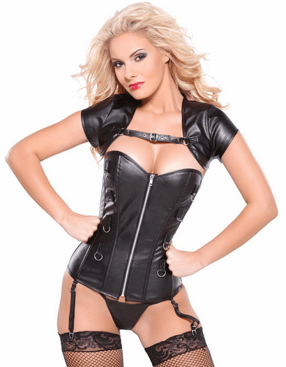 Platinum Collection Faux Leather Biker Babe Corset
