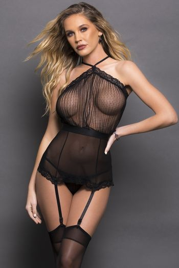 Pleated Black Bustier Set