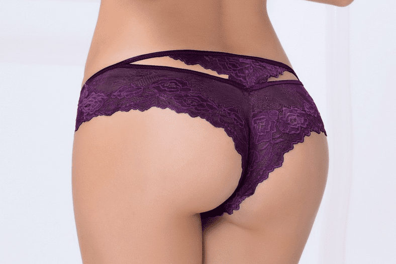 Plum Cut-Out Lace Thong