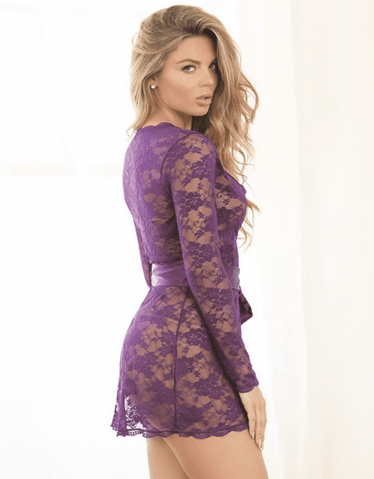 Plum Fantasy Lace Robe Tunic