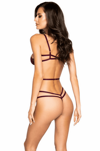 Plum Lace Crotchless Teddy