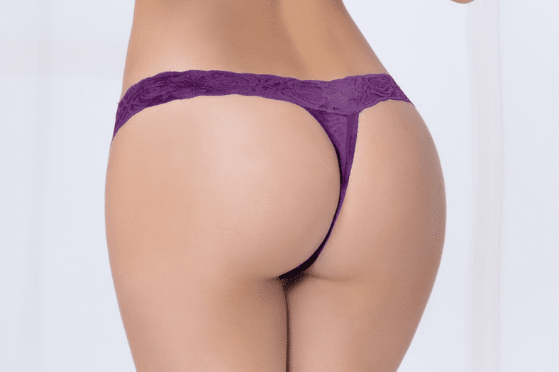 Plum Lace Thong