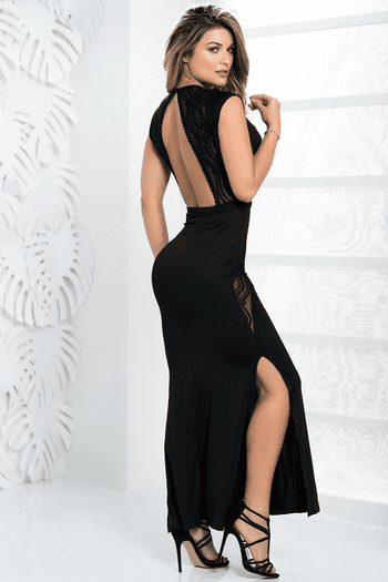 Plunging Black Gown