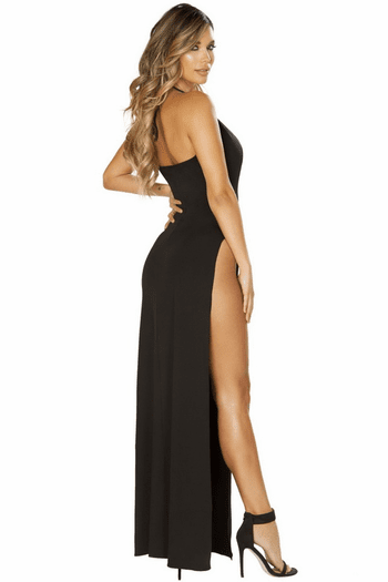 Plunging Black Maxi Dress