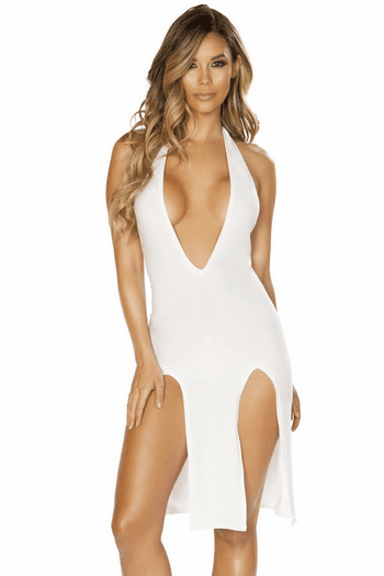Plunging Double Slit Dress