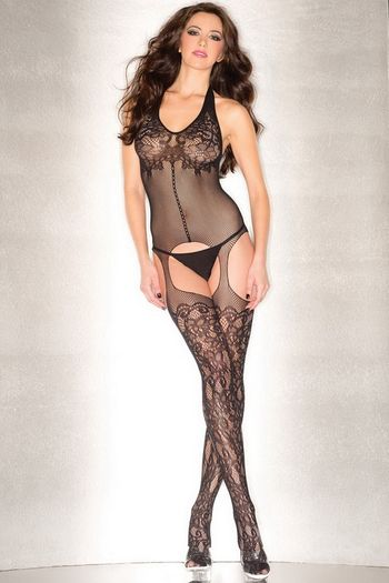Plunging Floral Bodystocking