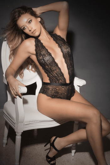 Plunging Floral Lace Teddy