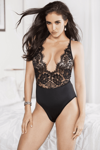 Black Plunging Lace Teddy