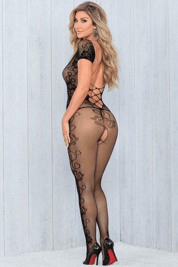 Plunging Open Crotch Bodystocking