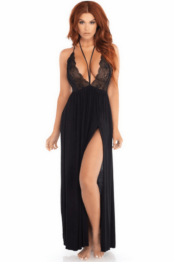 Plunging Sheer Gown