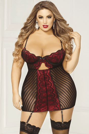 Plus Size All I Have To Give Chemise & Thong Set