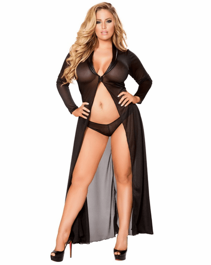 Plus Size All Of Me Mesh Robe Set