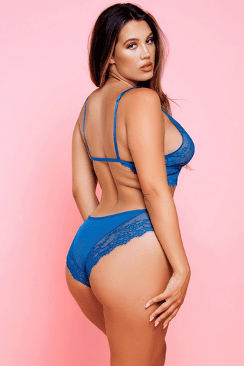 Plus Size Anastasia's Blue Lace Bralette & Thong Set