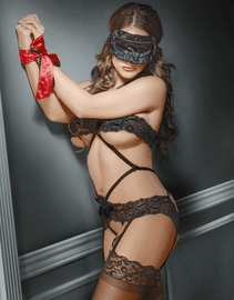 Plus Size Bands Of Lace Crotchless Teddy & Bondage Set