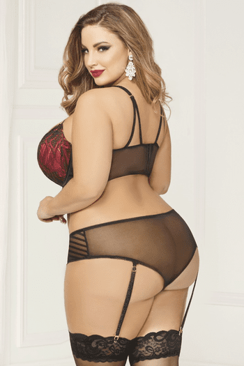 Plus Size Be With Me Tonight Bra & Garter Panty Set