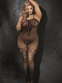 Plus Size Beautiful Stretch Lace & Fishnet Bodystocking