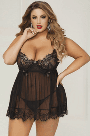 Plus Size Bed Of Roses Babydoll & Thong Set